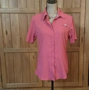 Pink womans Columbia button-up